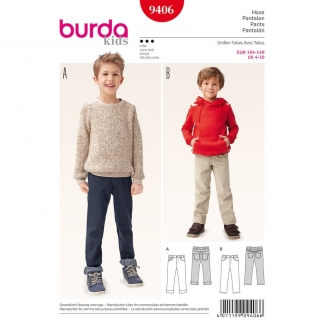 Burda Style - Patron Enfant Jeans à Ceinture Elastiquée n°9406 du 104 au 140