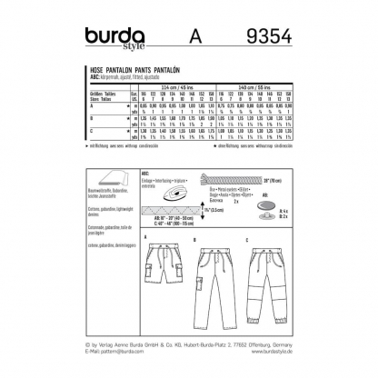 Burda Style - Patron Enfant Pantalon et Short n°9354 du 116 au 158