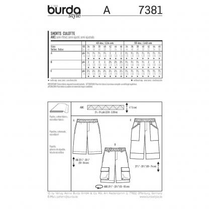 Burda Style - Patron Homme Shorts n°7381 du 44 au 56