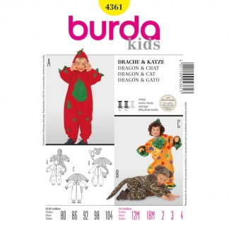 Burda Style - Patron Enfant Dinosaure, Chat et Clown n°4561 du 80 au 104