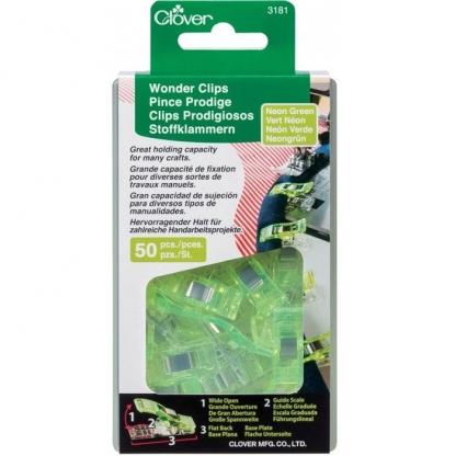 Clover – Boite 50 Pinces Prodige Vert Neon