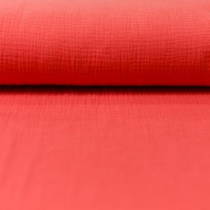 Sélection Coup de coudre - Tissu Double Gaze de Coton Uni Couleur Rose Corail