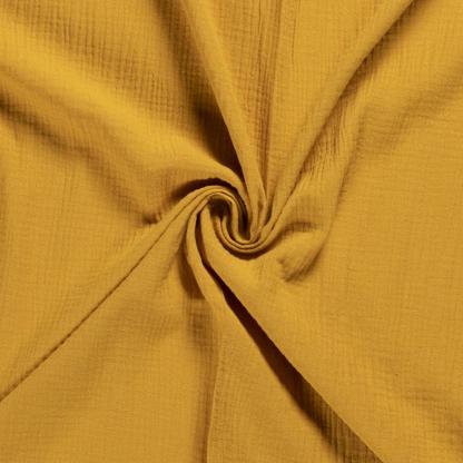 Sélection Coup de coudre - Tissu Double Gaze de Coton Uni Couleur Ocre