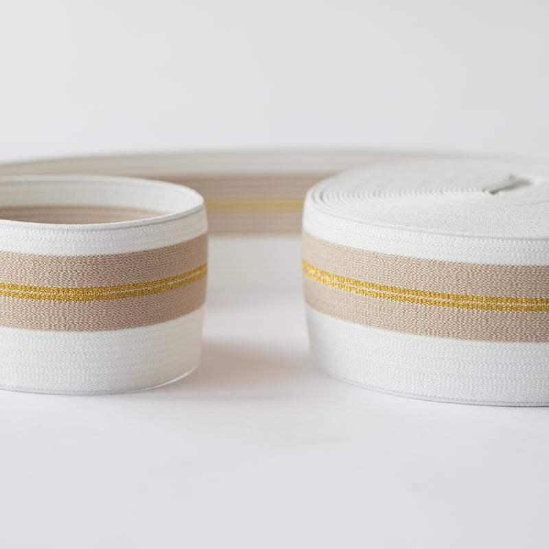 0fbbc0291016 See You at Six - Ceinture Elastique Couleur Blanc Cassé avec Lignes ...