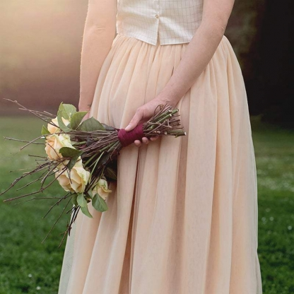 See You at Six - Tissu Tulle Nude Rose