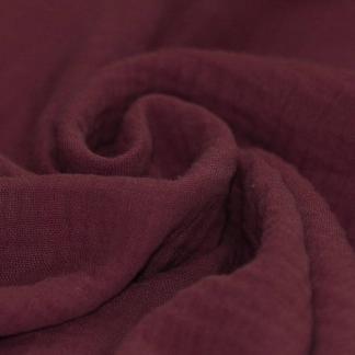 Tissu Double Gaze de Coton Uni Couleur Bordeaux