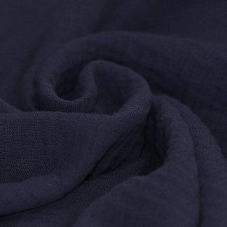Tissu Double Gaze de Coton Uni Couleur Marine