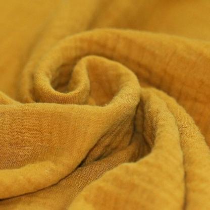 Tissu Double Gaze de Coton Uni Couleur Ocre