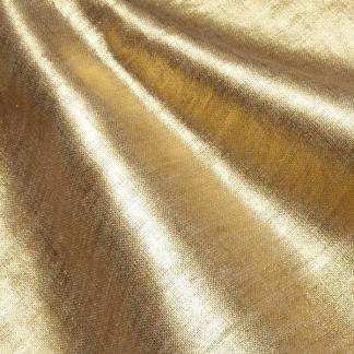 Tissu Enduit Pur Lin Uni Couleur Doré