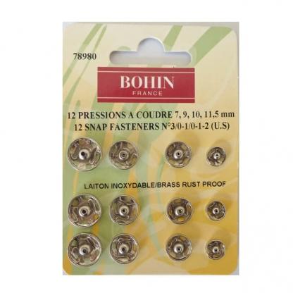 Bohin - Set 12 Boutons Pression à Coudre Coloris Argent Tailles Assorties