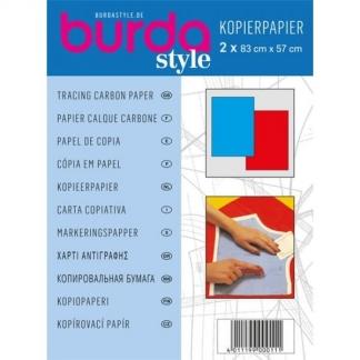 Burda Style - 2 Feuilles Papier Calque Carbone Coloris Bleu et Rouge