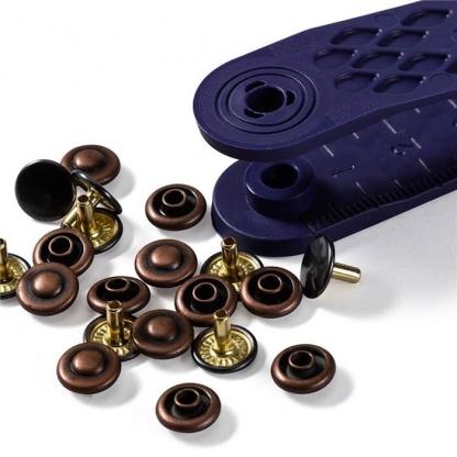 Prym - Boite 24 Rivets Coloris Bronze et Cuivre avec Outil de Pose (9 mm)