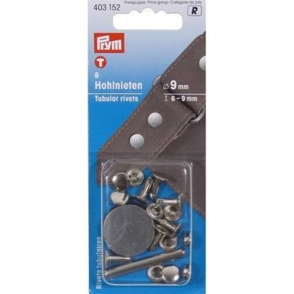 Prym - Boite 8 Rivets Tubulaires Coloris Argent avec Outil de Perçage (9 mm)