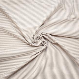 Tissu Popeline de Coton à Rayures Sables Tissé Teint