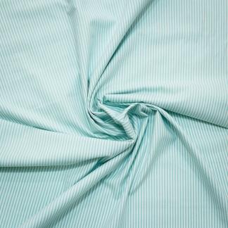 Tissu Popeline de Coton à Rayures Vert Menthe Tissé Teint