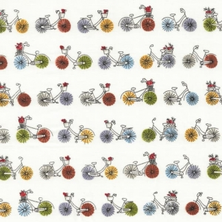 "C. Pauli - Tissu Popeline Fine de Coton Bio ""Bicycles"" sur le Fond Blanc"