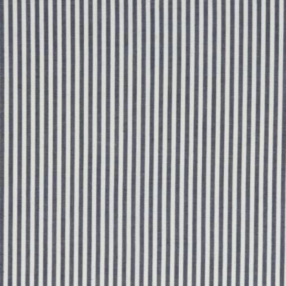 C. Pauli - Tissu Popeline de Coton à Rayures Bleu sur le Fond Blanc
