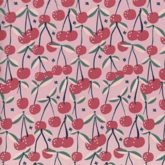 """C. Pauli - Tissu Voile de Coton Bio """"Cherry"""" sur le Fond Rose"""