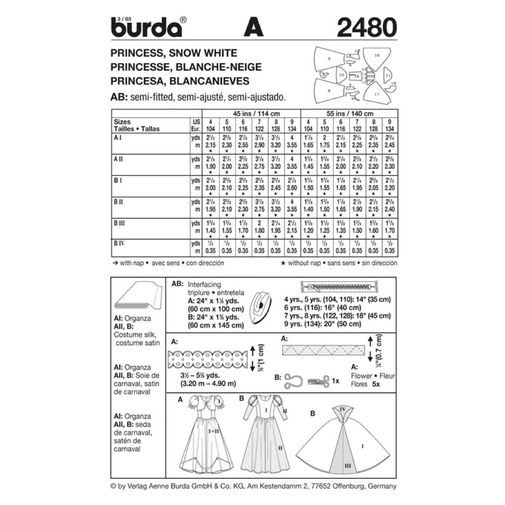 Burda Patron Style 134 Enfant Blanche Neige Princesse Et Du N°2480 Au 104 UzqSVMGp