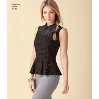 Simplicity – Patron Femme Haut avec Basque n°1425/7775 du 32 au 50