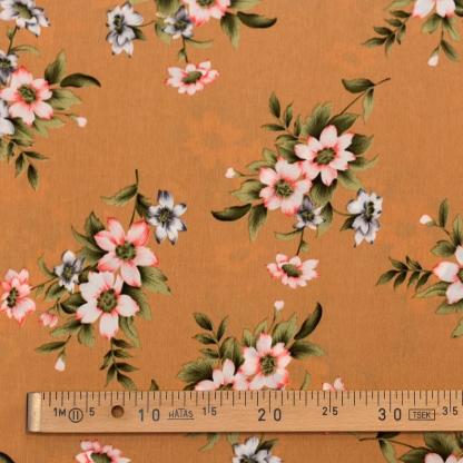Tissu Crêpe Imprimé Fleurs sur le Fond Beige
