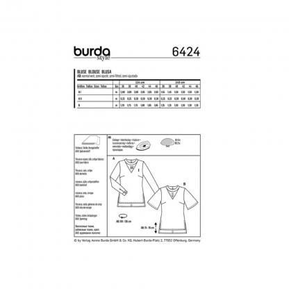 Burda Style – Patron Femme Blouse n°6424 du 38 au 48