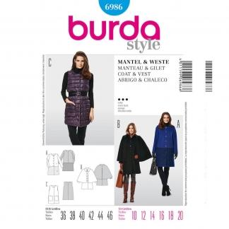 Burda Style – Patron Femme Manteau Gilet n°6986 du 36 au 46