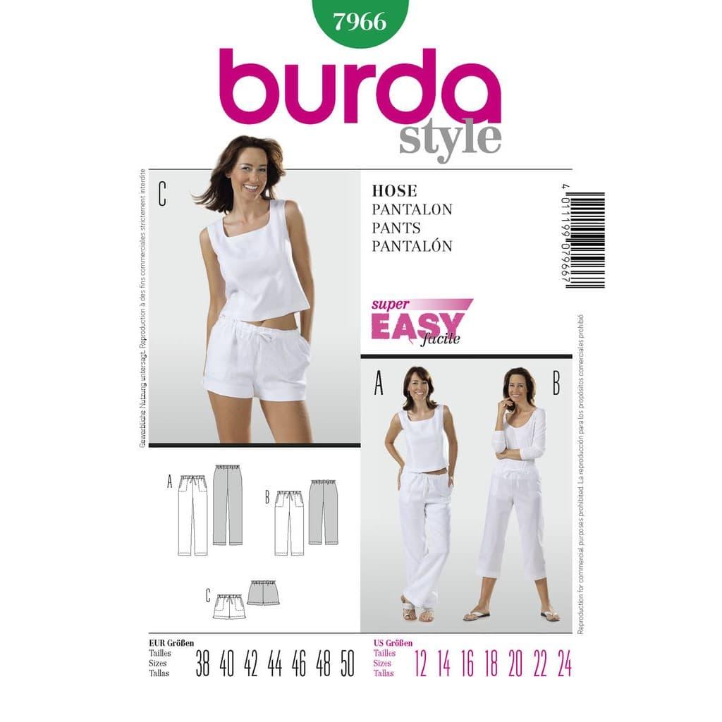 ac888a22c13f Burda Style – Patron Femme Pantalon et Shorts n°7966 du 38 au 50 ...