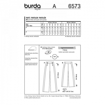Burda Style – Patron Femme Pantalon n°6573 du 32 au 44