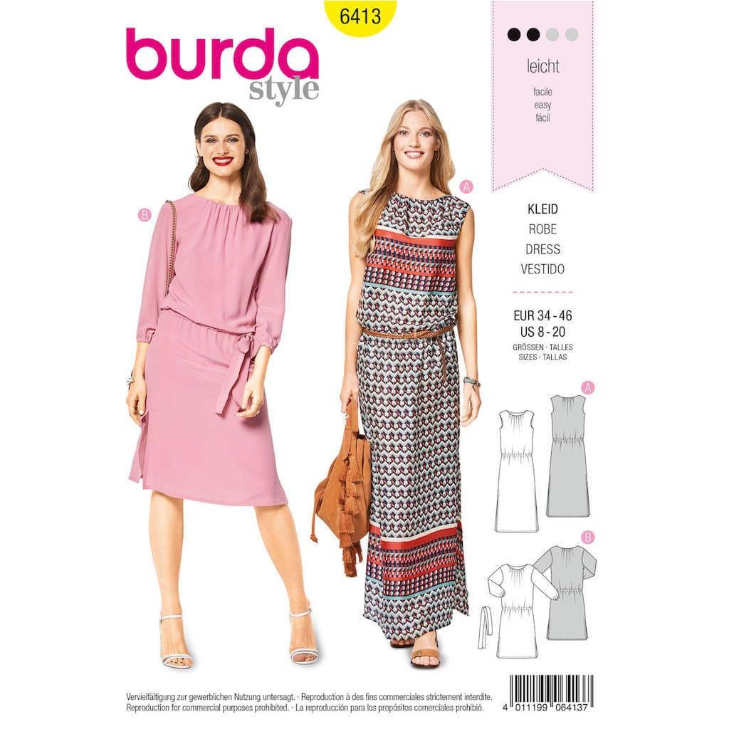 267768889edba Burda Style – Patron Femme Robe Encolure Bateau n°6413 du 36 au 48