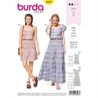 Burda Style – Patron Femme Robes Volantées n°6403 du 34 au 44