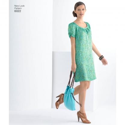New Look – Patron Femme Robe, Ceinture et Sac n°6022 du 34 au 44