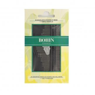 Bohin - Set 40 Aiguilles à Coudre et Mode Assorties avec Enfileur