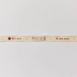 """Best Quality Ribbon - Ruban Griffe """"Fait main"""" en Coton Bio Coloris Naturel"""