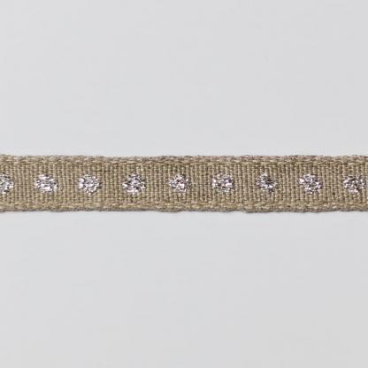 Best Quality Ribbon - Ruban en Lin Bio Brodé Pois Coloris Argent Métallisé
