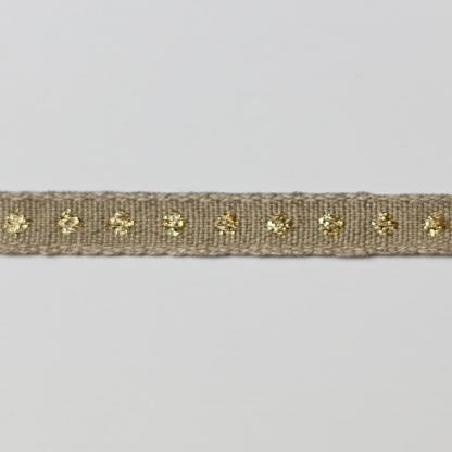 Best Quality Ribbon - Ruban en Lin Bio Brodé Pois Coloris Or Métallisé