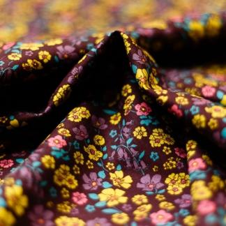 C. Pauli - Tissu Popeline Fine de Coton Bio Imprimé Fleurs sur le Fond Violet