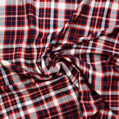 C. Pauli - Tissu Soft Twill de Coton Bio Imprimé Carreaux Bleu Marine et Rouge Tango sur le Fond Blanc