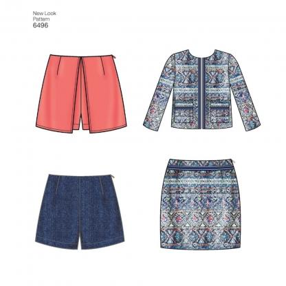 New Look – Patron Femme Veste, Jupe, Short et Skort n°6496 du 34 au 46