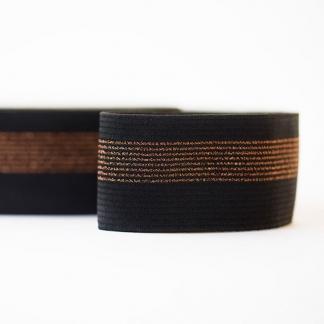 See You at Six - Ceinture Elastique Couleur Noir avec Lignes en Cuivre