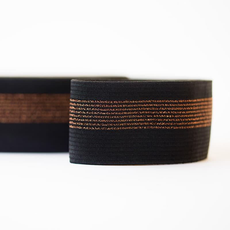 6dc3551d2c60 See You at Six - Ceinture Elastique Couleur Noir avec Lignes en Cuivre