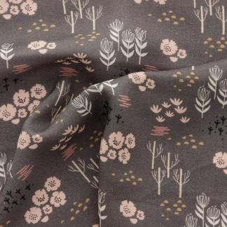 Dashwood Studio - Tissu Batiste de Viscose Dovestone Imprimé Fleurs Roses Anciens et Pointe de Moutarde sur le Fond Taupe