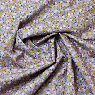 """Poppy - Tissu Popeline de Coton Imprimé Fleurs """"Petit Flowers"""" sur le Fond Bleu Gris"""