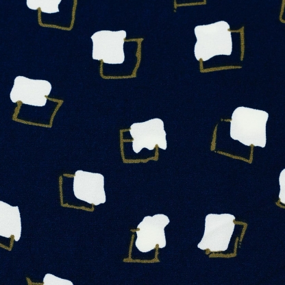 Sélection Coup de coudre - Tissu Crêpe Imprimé Carrés sur le Fond Bleu Marine