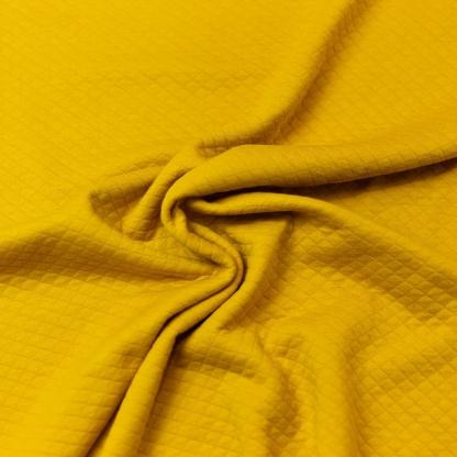 Sélection Coup de coudre - Tissu Jersey de Coton Matelassé Uni Couleur Moutarde