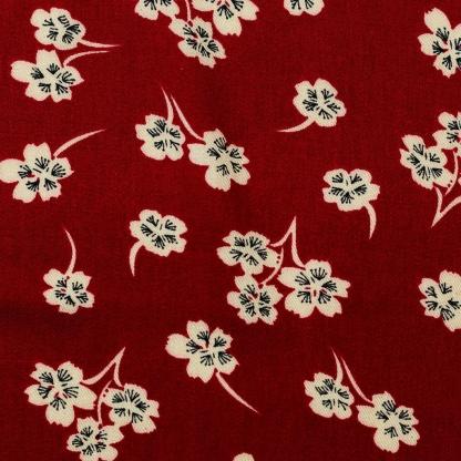 Sélection Coup de coudre - Tissu Twill de Viscose Imprimé Fleurs sur le Fond Bordeaux