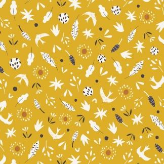 Dashwood Studio - Tissu Popeline de Coton Imprimé Feuilles et Oiseaux sur le Fond Jaune
