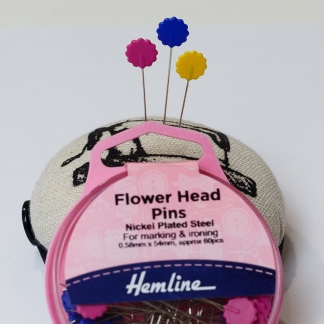 Hemline - Boite 60 Epingles de Couture Fines et Longues à Têtes en Fleurs Colorées