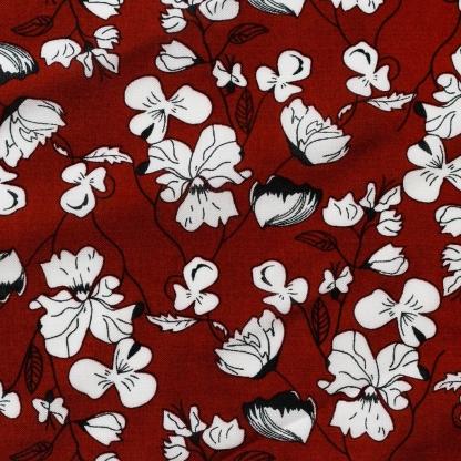 Sélection Coup de coudre - Tissu Challis de Viscose Imprimé Fleurs Blanches sur le Fond Bordeaux