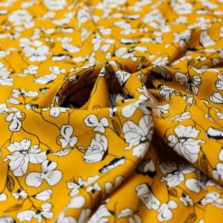 Sélection Coup de coudre - Tissu Challis de Viscose Imprimé Fleurs Blanches sur le Fond Moutarde